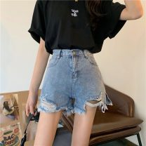 Jeans Summer 2021 blue S,M,L,XL shorts High waist Straight pants routine 18-24 years old Cotton denim 8020X 51% (inclusive) - 70% (inclusive)