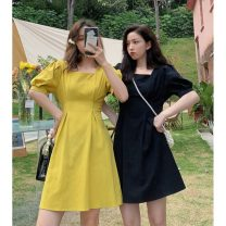 Dress Summer 2021 Yellow, black S (80-100kg), m (100-120kg) Middle-skirt singleton  Short sleeve commute square neck High waist Solid color Socket A-line skirt puff sleeve Others 18-24 years old Type A Korean version 30155F 31% (inclusive) - 50% (inclusive) cotton