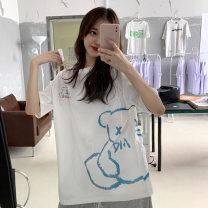 T-shirt White, black M,L,XL Summer 2021 Short sleeve Crew neck easy Medium length routine commute cotton 31% (inclusive) - 50% (inclusive) 18-24 years old Korean version Cartoon animation printing