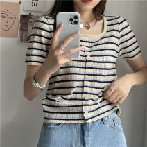 T-shirt Apricot, red, blue, yellow Average size Summer 2021 Short sleeve square neck easy have cash less than that is registered in the accounts routine commute Viscose 86% (inclusive) -95% (inclusive) 18-24 years old Korean version 325H