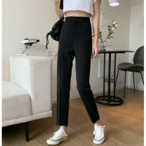 Casual pants Purple, black S,M,L Summer 2021 Ninth pants Wide leg pants High waist commute routine 18-24 years old 51% (inclusive) - 70% (inclusive) 858F Korean version polyester fiber