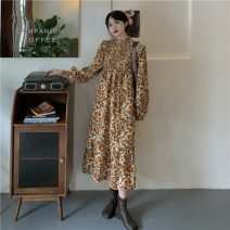 Dress Autumn 2020 Picture color S, M Middle-skirt singleton  Long sleeves commute stand collar Decor Socket routine 18-24 years old Type A Korean version 51% (inclusive) - 70% (inclusive) polyester fiber