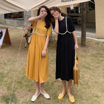 Dress Spring 2021 Yellow, black Average size Mid length dress singleton  Short sleeve commute Crew neck High waist Solid color Socket A-line skirt Others 18-24 years old Type A Korean version 30119F 51% (inclusive) - 70% (inclusive) polyester fiber