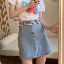 skirt Summer 2021 S,M,L blue Short skirt commute High waist Irregular Solid color Type A 18-24 years old 5235X 71% (inclusive) - 80% (inclusive) cotton Korean version
