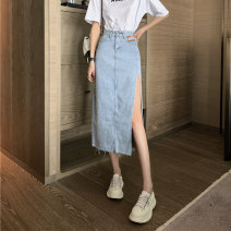 skirt Summer 2021 S,M,L Blue, black Mid length dress commute High waist A-line skirt Solid color Type A 18-24 years old 8033M 51% (inclusive) - 70% (inclusive) cotton Korean version