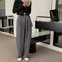 Casual pants Gray, black Average size Summer 2021 trousers Wide leg pants High waist commute routine 18-24 years old 51% (inclusive) - 70% (inclusive) 7023M polyester fiber Korean version belt polyester fiber