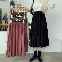 skirt Autumn 2020 Average size Coffee, dark green, apricot, rose, black Mid length dress commute High waist Pleated skirt Type A 18-24 years old 8691M 51% (inclusive) - 70% (inclusive) polyester fiber Korean version