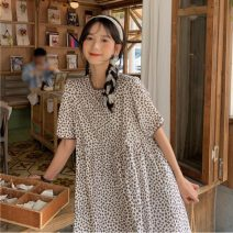 Dress Summer 2021 Navy, coffee Average size Mid length dress singleton  Short sleeve commute Crew neck Broken flowers puff sleeve 18-24 years old Korean version Frenulum 1552H 71% (inclusive) - 80% (inclusive) polyester fiber