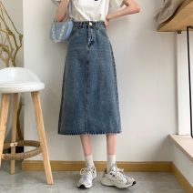 skirt Summer 2021 S,M,L,XL Retro orchid Mid length dress commute High waist A-line skirt Solid color Type A 18-24 years old 3089H 71% (inclusive) - 80% (inclusive) Denim cotton Make old Korean version