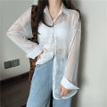 shirt Apricot, gray, white, purple, green, blue, yellow, pink Average size Summer 2021 polyester fiber 51% (inclusive) - 70% (inclusive) Long sleeves commute Regular Polo collar Single row multi button shirt sleeve Solid color 18-24 years old Straight cylinder Korean version 6734M