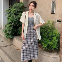 Fashion suit Summer 2021 Average size Apricot, white, blue, black, check skirt 18-25 years old 5051M 51% (inclusive) - 70% (inclusive) polyester fiber