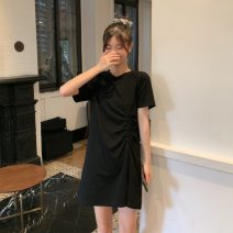 Dress Summer 2021 Gray, black Average size Middle-skirt singleton  Short sleeve commute Crew neck Solid color Socket A-line skirt routine 18-24 years old Type A Korean version 81% (inclusive) - 90% (inclusive) cotton