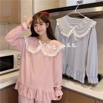 Pajamas / housewear set female Other / other M,L,XL Blue, pink Polyester (polyester) Long sleeves Sweet Leisure home spring Crew neck Solid color trousers Socket youth 2 pieces rubber string 41% (inclusive) - 60% (inclusive) printing 7750M