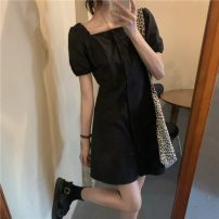 Dress Summer 2021 White, black S, M Middle-skirt singleton  Short sleeve commute square neck High waist Solid color Single breasted A-line skirt puff sleeve 18-24 years old Type A Korean version 1488H 71% (inclusive) - 80% (inclusive) polyester fiber