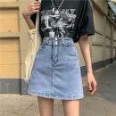 skirt Summer 2021 S,M,L,XL Light blue, black Short skirt commute High waist A-line skirt Solid color Type A 18-24 years old 6153M 51% (inclusive) - 70% (inclusive) cotton chain Korean version