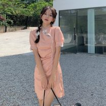 Dress Summer 2021 Middle-skirt singleton  Short sleeve commute stand collar middle-waisted Solid color zipper puff sleeve 18-24 years old Korean version Button 7519H 51% (inclusive) - 70% (inclusive) polyester fiber S,M Black, pink