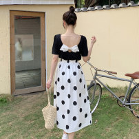 Fashion suit Summer 2021 Average size White T-shirt, black T-shirt, blue skirt, white skirt 18-25 years old 9023M 51% (inclusive) - 70% (inclusive) polyester fiber