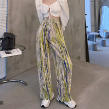 Casual pants Red, yellow Average size Summer 2021 trousers Wide leg pants High waist commute routine 18-24 years old 51% (inclusive) - 70% (inclusive) 8149M Korean version polyester fiber