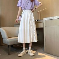 skirt Summer 2021 S,M,L White, black Mid length dress commute High waist A-line skirt Solid color 18-24 years old 60090H 81% (inclusive) - 90% (inclusive) polyester fiber Korean version