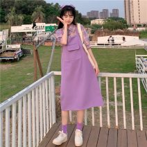 Fashion suit Summer 2021 Average size Purple Plaid shirt, purple strap skirt 18-25 years old 7884H 81% (inclusive) - 90% (inclusive) polyester fiber