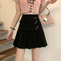 skirt Summer 2021 S,M,L White, black Short skirt commute High waist A-line skirt Solid color Type A 18-24 years old 59013M 51% (inclusive) - 70% (inclusive) polyester fiber Korean version