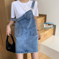 Dress Summer 2021 Purple, blue S,M,L Middle-skirt singleton  Sleeveless commute Loose waist Solid color Socket straps 18-24 years old Korean version 6607X 91% (inclusive) - 95% (inclusive) cotton