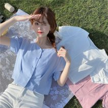 shirt White, blue sky, honey powder Average size Summer 2021 polyester fiber 51% (inclusive) - 70% (inclusive) Short sleeve commute Short style (40cm < length ≤ 50cm) square neck Single row multi button puff sleeve Solid color 18-24 years old Straight cylinder Korean version 538X