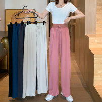 Casual pants Apricot, black, gray, blue, pink Average size Summer 2021 trousers Wide leg pants High waist commute routine 18-24 years old 91% (inclusive) - 95% (inclusive) polyester fiber Korean version polyester fiber