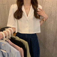 shirt routine polyester fiber 51% (inclusive) - 70% (inclusive) Short style (40cm < length ≤ 50cm) Summer 2021 Short sleeve commute V-neck 18-24 years old 3032M Solid color Single row multi button Self cultivation Korean version One size fits all white , violet , green , blue , black