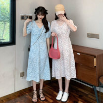 Dress Summer 2021 Apricot, blue, pink Average size Mid length dress singleton  Short sleeve commute V-neck Elastic waist Decor Socket A-line skirt puff sleeve 18-24 years old Type A Korean version Frenulum 3118M 51% (inclusive) - 70% (inclusive) polyester fiber