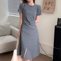 Dress Summer 2021 Gray, black Average size Mid length dress singleton  Short sleeve commute Crew neck Solid color Socket Irregular skirt routine 18-24 years old Type A Korean version fold 81% (inclusive) - 90% (inclusive) cotton