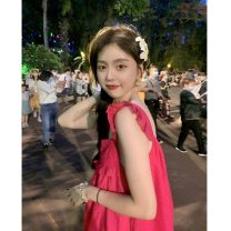 Dress 51% (inclusive) - 70% (inclusive) polyester fiber Summer 2021 Middle-skirt singleton  Sleeveless commute square neck High waist A-line skirt 18-24 years old straps Korean version 6900F One size fits all