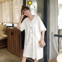 Dress Summer 2021 White, yellow, pink Average size Middle-skirt singleton  Short sleeve commute Doll Collar Loose waist Solid color Socket A-line skirt routine 18-24 years old Type A Korean version 3162X 71% (inclusive) - 80% (inclusive) cotton