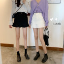 skirt Spring 2021 S,M,L White, black Short skirt commute High waist Ruffle Skirt Solid color Type A 18-24 years old 903X cotton Korean version