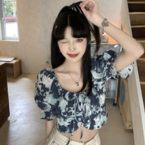 shirt Picture color Average size Summer 2021 polyester fiber 51% (inclusive) - 70% (inclusive) Short sleeve commute Short style (40cm < length ≤ 50cm) One word collar Socket puff sleeve 18-24 years old High waist type Korean version 2079M