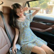 Dress Summer 2021 Floral skirt Average size Middle-skirt singleton  Short sleeve commute square neck Decor Socket puff sleeve 18-24 years old Type A Korean version 51% (inclusive) - 70% (inclusive) polyester fiber