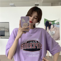 T-shirt Purple, yellow M,L,XL Summer 2021 Short sleeve Crew neck easy Medium length routine commute cotton 51% (inclusive) - 70% (inclusive) 18-24 years old Korean version youth k6156M