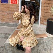 Dress Spring 2021 yellow S, M Middle-skirt singleton  Long sleeves commute Crew neck Broken flowers Socket Ruffle Skirt puff sleeve 18-24 years old Type A Korean version 5039H 71% (inclusive) - 80% (inclusive) polyester fiber