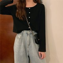 T-shirt Gray, white, red, Navy, black, caramel Average size Spring 2021 Long sleeves Crew neck easy have cash less than that is registered in the accounts routine commute cotton 71% (inclusive) - 85% (inclusive) 18-24 years old Korean version 1263F