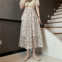 skirt Spring 2021 Average size Apricot, black Mid length dress commute High waist A-line skirt Broken flowers Type A 18-24 years old 91% (inclusive) - 95% (inclusive) polyester fiber printing Korean version
