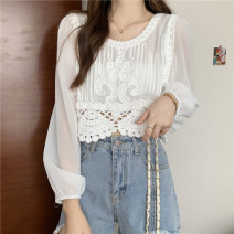 Lace / Chiffon Summer 2021 Apricot, white Average size Long sleeves commute Socket singleton  Self cultivation have cash less than that is registered in the accounts Crew neck Solid color puff sleeve 18-24 years old Hollowing out Korean version 71% (inclusive) - 80% (inclusive) polyester fiber