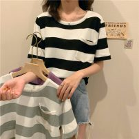 Wool knitwear Summer 2021 Average size Black and white stripes, gray stripes, purple stripes Short sleeve singleton  Socket Viscose 71% (inclusive) - 80% (inclusive) have cash less than that is registered in the accounts routine commute easy stripe Socket Korean version 526H 18-24 years old