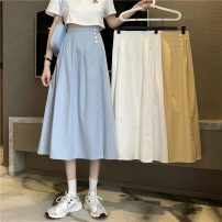 skirt Summer 2021 Average size White, blue, yellow Mid length dress commute High waist A-line skirt Solid color Type A 18-24 years old 9203H 71% (inclusive) - 80% (inclusive) cotton Button Korean version