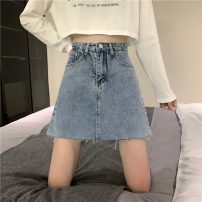 skirt Summer 2021 S,M,L,XL Blue, black Short skirt commute High waist A-line skirt Solid color Type A 18-24 years old 6196H 81% (inclusive) - 90% (inclusive) cotton Korean version