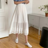 skirt Summer 2021 Average size White, black Short skirt commute High waist A-line skirt Solid color Type A 18-24 years old 5081H 71% (inclusive) - 80% (inclusive) polyester fiber printing Korean version