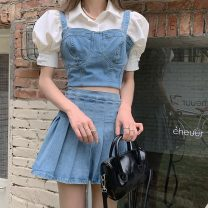 Fashion suit Summer 2021 S. M, l, average size Denim sling, denim pleated skirt, fly sleeve shirt, bubble sleeve shirt 18-25 years old 51% (inclusive) - 70% (inclusive) cotton