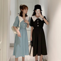 Dress Summer 2021 Light blue, white, black Average size Mid length dress singleton  Short sleeve commute Polo collar Elastic waist Solid color Socket A-line skirt routine Others 18-24 years old Type A Other / other Korean version 8799F 31% (inclusive) - 50% (inclusive) polyester fiber