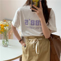 T-shirt White, yellow Average size Summer 2021 Short sleeve Crew neck Straight cylinder Regular routine commute cotton 51% (inclusive) - 70% (inclusive) 18-24 years old Korean version Solid color 8080M