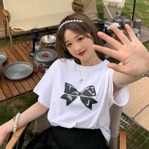 T-shirt White, black Average size Summer 2021 Short sleeve Crew neck easy Regular routine commute polyester fiber 51% (inclusive) - 70% (inclusive) 18-24 years old Korean version 9008H