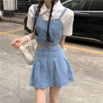 Fashion suit Summer 2021 S. M, l, average size Sling, pleated skirt 18-25 years old 3704F 81% (inclusive) - 90% (inclusive) cotton